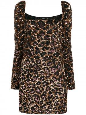 Коктейльное платье с леопардовым узором Amen. Цвет: коричневый