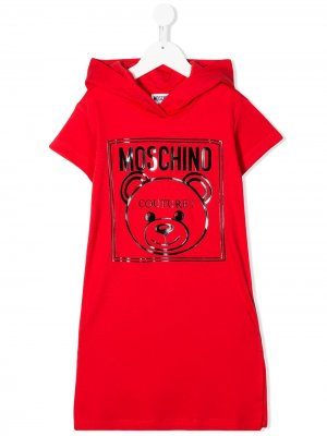 Конверт-свитер с принтом Teddy Bear Moschino Kids. Цвет: красный