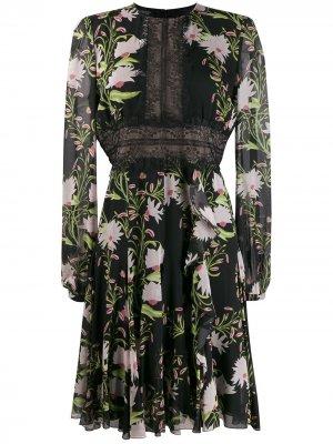 Платье с кружевными вставками и цветочным принтом Giambattista Valli. Цвет: черный