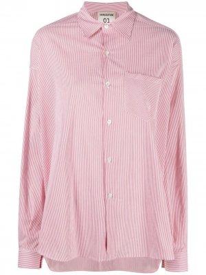 Полосатая рубашка с нагрудным карманом Semicouture. Цвет: красный