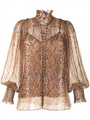 Блузка Botanica со змеиным принтом Zimmermann. Цвет: коричневый