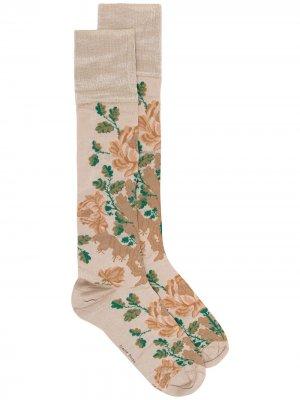 Носки с цветочным узором Simone Rocha. Цвет: коричневый