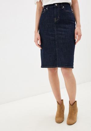 Юбка джинсовая Lauren Ralph. Цвет: синий