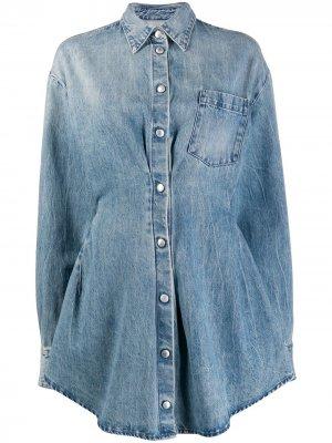 Джинсовое расклешенное платье UNRAVEL PROJECT. Цвет: синий