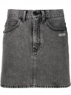 Джинсовая юбка с логотипом Off-White. Цвет: черный