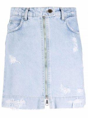 Джинсовая юбка с эффектом потертости Merci. Цвет: синий