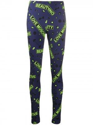 Легинсы с завышенной талией и логотипом Love Moschino. Цвет: синий