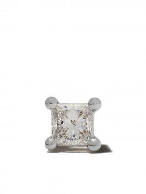 Серьга-гвоздик из белого золота с бриллиантом Delfina Delettrez. Цвет: белый/серебристый