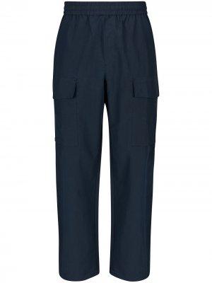 Зауженные широкие брюки Wood. Цвет: синий