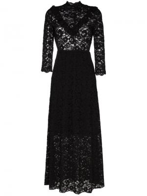 Кружевное платье макси с высоким воротом By Timo. Цвет: черный