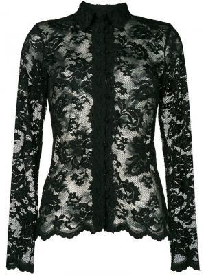 Приталенная блузка с кружевной отделкой Olvi´S. Цвет: черный