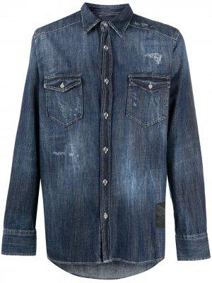 Джинсовая рубашка с эффектом потертости John Richmond. Цвет: синий