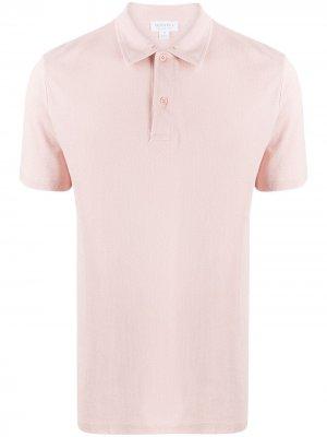 Рубашка поло из ткани пике Sunspel. Цвет: розовый