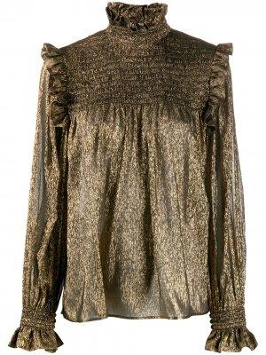 Блузка с эффектом металлик Saint Laurent. Цвет: золотистый