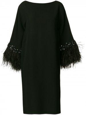 Платье-рубашка с длинными рукавами перьями Valentino Pre-Owned. Цвет: черный