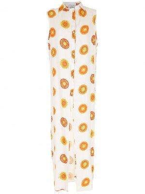 Длинное пляжное платье Sol с принтом Amir Slama. Цвет: белый