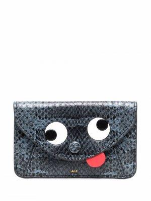 Маленький кошелек со змеиным принтом Anya Hindmarch. Цвет: синий
