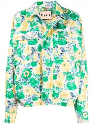 Куртка с цветочным принтом Plan C. Цвет: зеленый