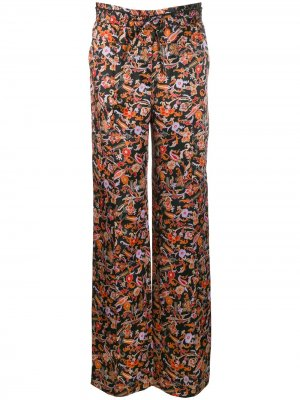 Пижамные брюки с принтом пейсли и шнурком на поясе Derek Lam 10 Crosby. Цвет: черный