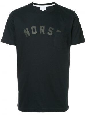 Футболка с накладным карманом Norse Projects. Цвет: синий