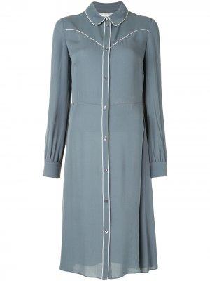 Платье-рубашка с кантом Valentino Pre-Owned. Цвет: синий