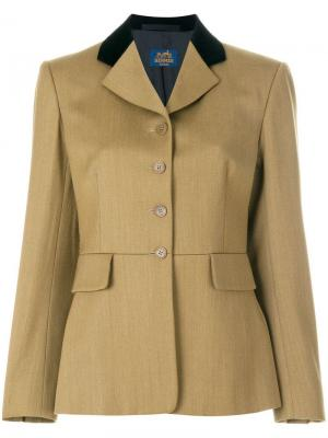 Блейзер с контрастными лацканами Hermès Vintage. Цвет: коричневый