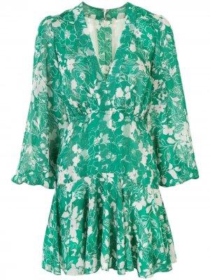 Платье с цветочным принтом и длинными рукавами Alexis. Цвет: зеленый