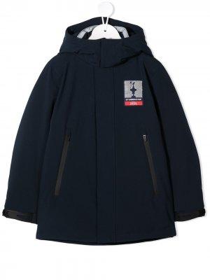 Плащ с капюшоном и нашивкой-логотипом North Sails Kids. Цвет: синий