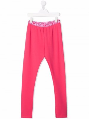 Легинсы с логотипом Karl Lagerfeld Kids. Цвет: розовый
