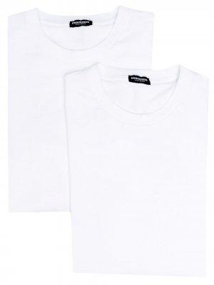 Комплект из двух футболок с логотипом Dsquared2. Цвет: белый