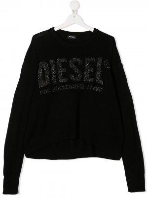 Джемпер оверсайз с логотипом металлик Diesel Kids. Цвет: черный