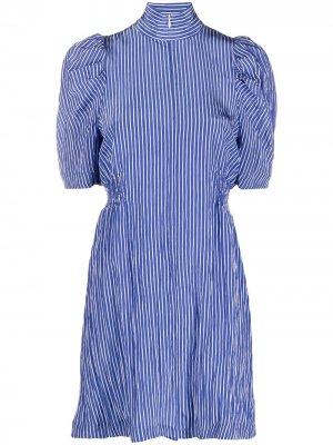 Полосатое платье с пышными рукавами Baum Und Pferdgarten. Цвет: синий