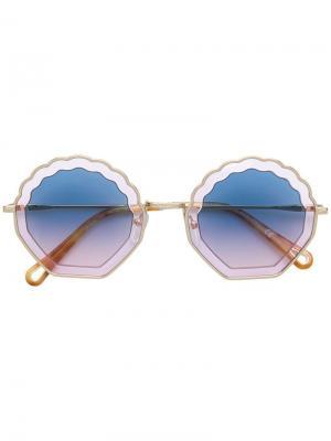 Солнцезащитные очки в фигурной оправе Chloé Eyewear. Цвет: желтый