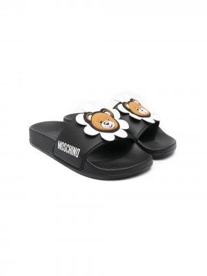 Шлепанцы Teddy Bear Moschino Kids. Цвет: черный
