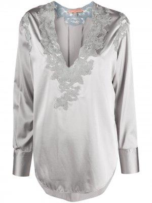Кружевная блузка с цветочным узором Ermanno Scervino. Цвет: серый