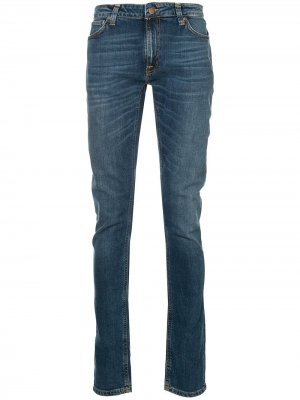 Классические джинсы скинни Nudie Jeans. Цвет: синий