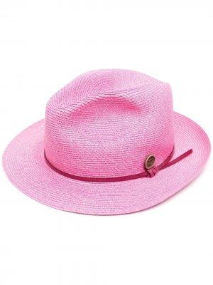 Плетеная шляпа-федора catarzi. Цвет: розовый