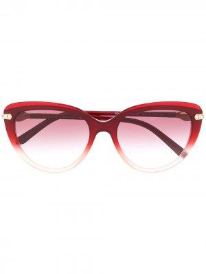 Солнцезащитные очки в оправе кошачий глаз Bvlgari. Цвет: красный