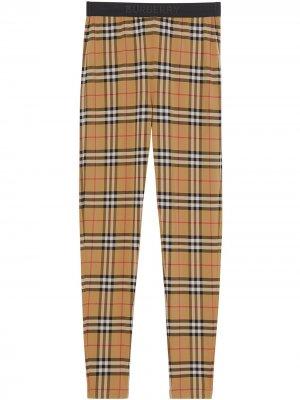 Легинсы в клетку Vintage Check с логотипом Burberry. Цвет: коричневый