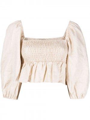 Укороченная блузка Vivica со сборками Faithfull the Brand. Цвет: нейтральные цвета