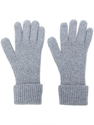 Перчатки в рубчик N.Peal. Цвет: серый
