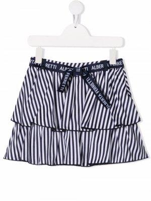 Ярусная юбка в полоску Alberta Ferretti Kids. Цвет: синий
