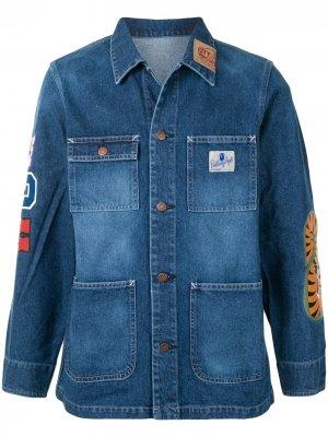 Джинсовая куртка Shark с накладным карманом A BATHING APE®. Цвет: синий