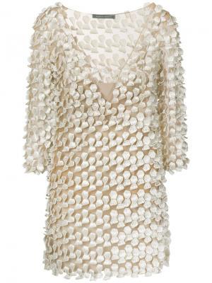 Фактурное платье с вырезными деталями Alberta Ferretti. Цвет: нейтральные цвета