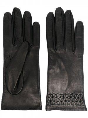 Перчатки с плетеной отделкой Manokhi. Цвет: черный