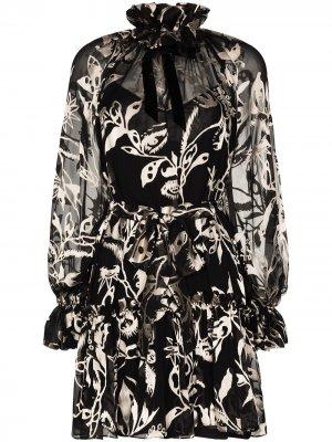 Платье мини Ladybeetle с завязками на воротнике Zimmermann. Цвет: черный