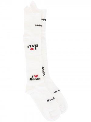 Носки вязки интарсия Doublet. Цвет: белый