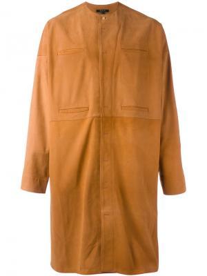 Пальто без воротника с потайной застежкой Qasimi. Цвет: коричневый