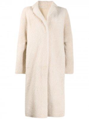 Фактурное однобортное пальто Liska. Цвет: нейтральные цвета