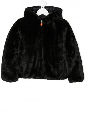 Reversible faux fur padded coat Save The Duck Kids. Цвет: черный